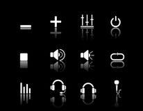 Multimédia et acoustique blancs de graphismes de Web Photographie stock libre de droits