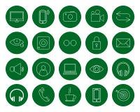 Multimédia pour l'utilisateur, un ensemble de vingt icônes linéaires rondes monochromes, changement de couleur dans un clic, styl Photos libres de droits
