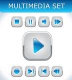 Multimédia bleus réglés Photo stock