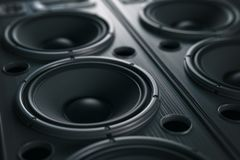 Multimedia  acoustic sound speaker system. Music close up black. Background. 3d illustration Royalty Free Stock Images