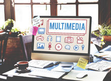 Multimedia-Animations-Computer-Animations-Digital-Konzept lizenzfreies stockfoto