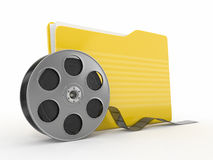 Multimedia archive. Film reel and folder. 3d Stock Image