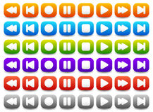 Multimedia, Audio - Video Player Control Buttons in Various Colo Royalty Free Stock Photography