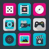 Multimedia, audio and video themed squared app icon set Stock Photography