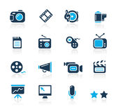 Multimedia // Azure Series. Set of decorative blue icons isolated on white background for your multimedia projects Stock Photography