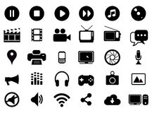 Multimedia black and white icons set Royalty Free Stock Images