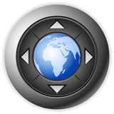 Multimedia button globe Stock Images