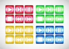 Multimedia buttons. Royalty Free Stock Photos