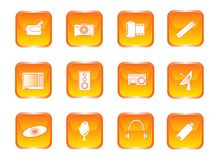 Multimedia buttons. Illustration of orange multimedia buttons Royalty Free Stock Photography