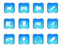 Multimedia buttons. Illustration of blue multimedia buttons Stock Image