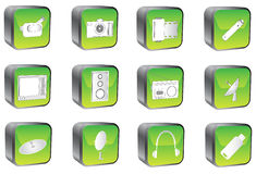 Multimedia buttons. 3D multimedia buttons, green, white Stock Image