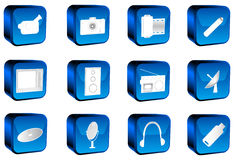 Multimedia buttons. 3D multimedia buttons, blue, white Royalty Free Stock Photos