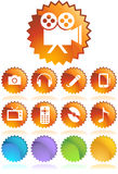 Multimedia Buttons. Set of 9 multimedia buttons - label style Royalty Free Stock Image