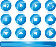 Multimedia Buttons - Blue. Set of 3D multimedia buttons with blue round background Stock Image