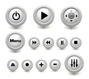 Multimedia buttons collection. Multimedia play white glossy button Royalty Free Stock Photo