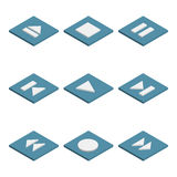 Multimedia buttons isometric, vector illustration. Stock Photography