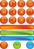 Multimedia Buttons - Round. Set of 3D multimedia buttons with orange round background Stock Image