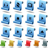 Multimedia Buttons - Scroll. Set of 3D multimedia buttons with scroll style Stock Image