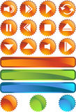 Multimedia Buttons - Seal. Set of 3D multimedia buttons with orange seal style background Royalty Free Stock Images