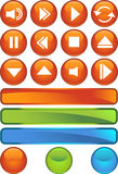 Multimedia Buttons: Shiny Round Stock Images