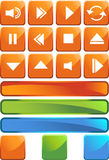 Multimedia Buttons - Square. Set of 3D multimedia buttons with orange square background Stock Image