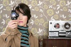 Multimedia cinema 8mm woman music tape open ree Royalty Free Stock Photo