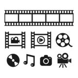 Multimedia, cinematography and entertainment black vector icons. royalty free illustration