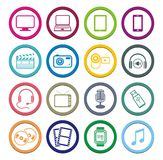 Multimedia circle icon sets Stock Photos