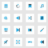 Multimedia Colorful Icons Set. Collection Of Musical Note, File, Mute And Other Elements. Also Includes Symbols Such As. Multimedia Colorful Icons Set Stock Image