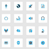Multimedia Colorful Icons Set. Collection Of Piano, Music Lover, Speaker And Other Elements. Also Includes Symbols Such. Multimedia Colorful Icons Set Royalty Free Stock Images