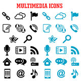 Multimedia and communication flat icons Stock Images
