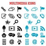 Multimedia and communication flat icons Stock Images