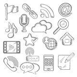 Multimedia and communication sketched icons Stock Photography