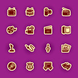 Multimedia computer icon set isolated on purple Stock Photo