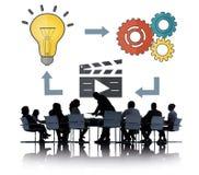 Multimedia Concep för tankar för inspiration för planläggningsidékreativitet Arkivbilder