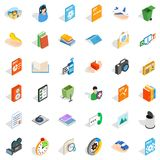Multimedia content icons set, isometric style. Multimedia content icons set. Isometric set of 36 multimedia content vector icons for web isolated on white Stock Images