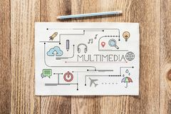 Multimedia content pencil hand drawn