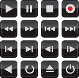Multimedia control glossy icon set Stock Photos