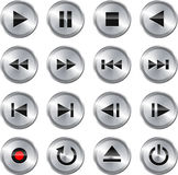 Multimedia control icon/button set. Metallic glossy multimedia control button/icon set. Vector illustration Stock Photography
