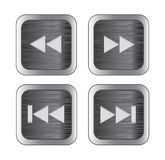 Multimedia control icons. Brushed metal multimedia control buttons/icons. Vector illustration royalty free illustration