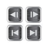 Multimedia control icons. Brushed metal multimedia control buttons/icons. Vector illustration vector illustration