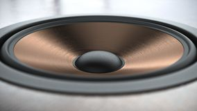 Multimedia copper finish speaker system with different speakers closeup over black background 3d render. Multimedia copper finish speaker system with different Royalty Free Stock Photos