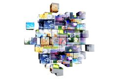Multimedia Cubes Isolated vector illustration