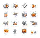 Multimedia de // de los iconos del grafito Foto de archivo