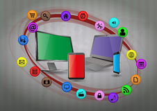 Multimedia device. Illustration of tech device with multimedia graphic Stock Photography