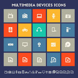 Multimedia devices icon set. Multicolored square flat buttons Stock Photo