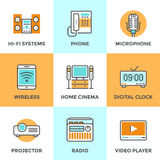 Multimedia devices line icons set stock illustration