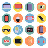 Multimedia digitali d piana fissata icone di nuova tecnologia Fotografie Stock
