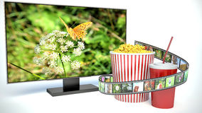 Multimedia display for watching movies Stock Image