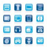 Multimedia ed icone di tecnologia Fotografia Stock Libera da Diritti